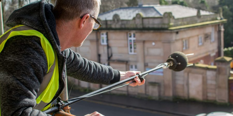 Acoustic Consultant Martin Hamer measuring sound